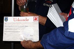 Zur Siegerehrung gab es die Urkunde mit dem 2. Platz und die Gutscheine für Kiekeberg.